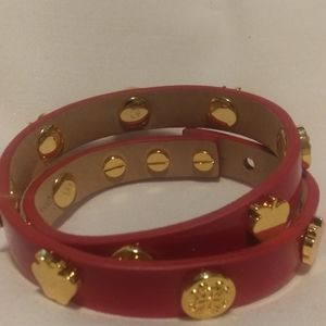 Red Leather Rustic Cuff Gold Tone Double Wrap